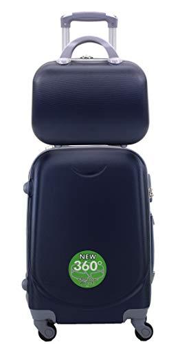 Maleta de Cabina Trolley de Viaje con Neceser a Juego Equipaje de Mano ,aptas para Ryanair Vueling etc (Azul Marino)