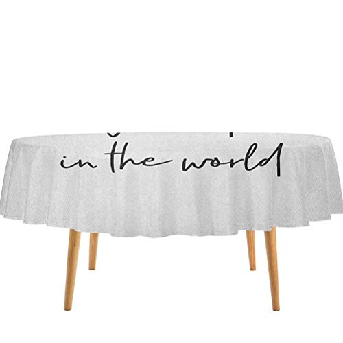 Grandma Table Cloth Brush Calligraphy Hand Drawn Quote The Best Granny in The World Monochrome Design for Parties, Banquets, Wedding Events, Holidays, Conference Tables & Trade Shows (60' Round)