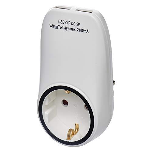 EMOS P0072 Steckdose, Schuko Steckdosenadapter mit 2 USB-Ports 2100 mA, Kindersicherung, für Reisen, Smartphone, Handy, Tablet, 4000 W, 250 V