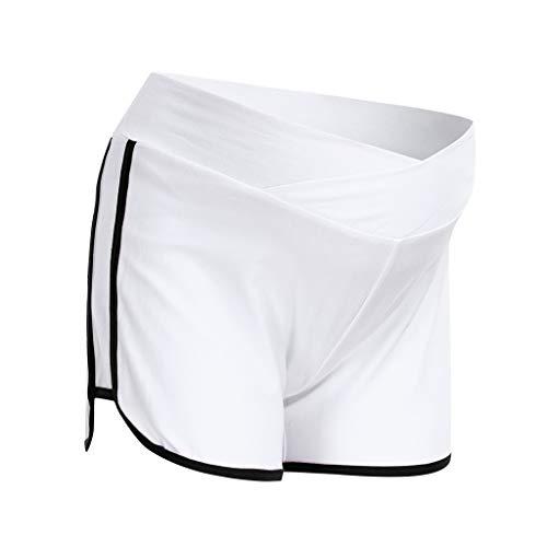 Allence Maternity Umstandsshorts Sport Yogahose Umstandshose mit Bauchband für Sommer Bequeme Umstandsmode Schlafanzughose Stoffhose für Schwangere Frauen
