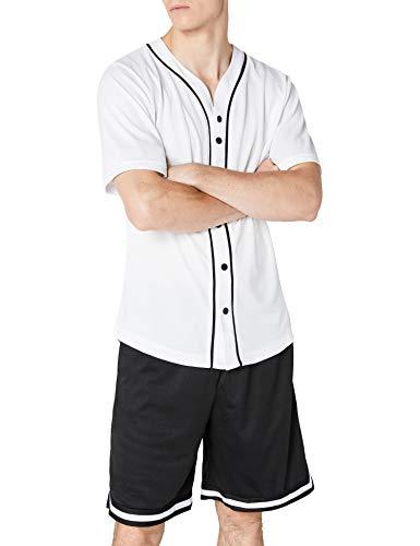 Urban Classics Camiseta Baseball Mesh Jersey con Botones a Presión con Vivos a Contraste, para un Look Deportivo, para Vestir Arreglado Pero Casual en White, Talla S, Hombre