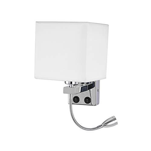 ALLOMN Nachtwandleuchte, LED Lesewandleuchte Moderne Wandleuchte aus Poliertem Chrom mit Verstellbarem Schwanenhalsstrahler, Doppelschalter, mit USB-Anschluss zum Laden von E27 (Ein Licht, 2 Stck)