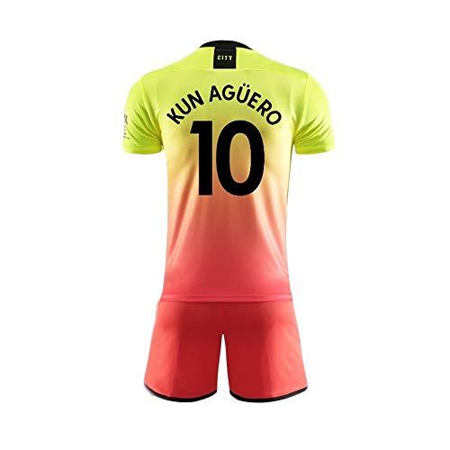 Traje Camiseta del Jersey del fútbol-fútbol de Manga Larga del Kun Aguero-10 de los Hombres de los Aficionados al fútbol Jerseys de los Deportes (Color : B, Size : 16)