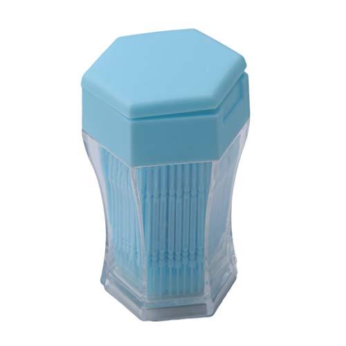 Sperrins 200 Stücke Kunststoff Zahnstocher Zahnstocher Zahnstocher Pinsel Zähne Stick Zahnpflege Zahnstocher mit Aufbewahrungskoffer Blau