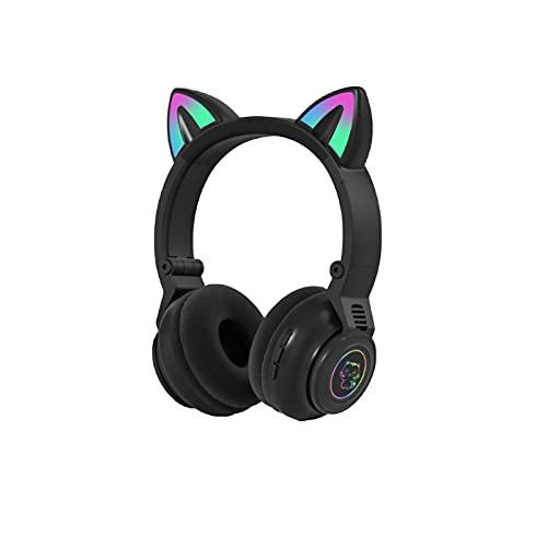 Auriculares Bluetooth, orejas de gato con luz LED, inalámbricos, plegables, con micrófono y control de volumen para teléfono/almohadilla, teléfonos inteligentes, ordenador portátil, PC/TV
