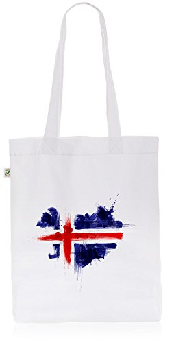 CottonCloud Island Baumwoll-Beutel Einkaufs-Tasche Iceland Flagge WM EM Sport Festival Fahne Uni Bag, Farbe:Weiß