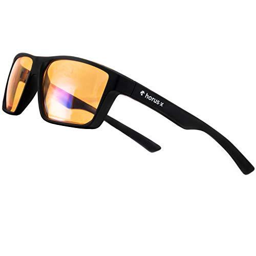 Horus X – Blaulicht-Brille GAMING 2.0 - Ruhebrille Ultimativer Schutzfilter - Anti-Blaulicht-Bildschirm (PC-Computerkonsolen-Videospiele) - Gamer & e-Sportzubehör - Männer und Frauen (Unisex) (M / L)