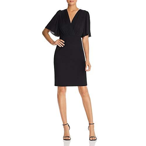Elie Tahari Womens Tavara Puff Sleeve V-Neck Cocktail Dress Black 10