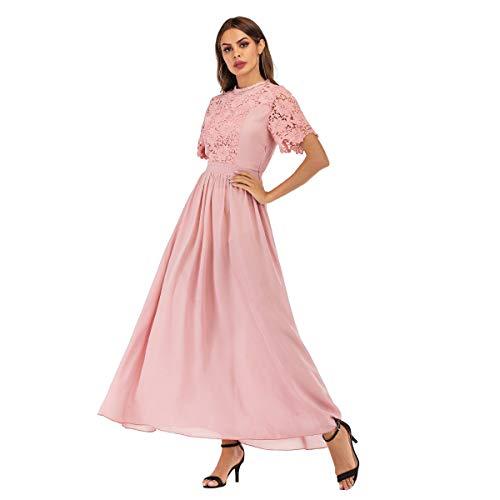 FWJ-clothes Dame Floral Lace Kleider mit kurzen Ärmeln Frauen Elegante Brautjungfer Kleid Anzug für Abschlussball, Hochzeit, etc,M