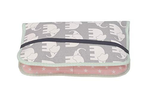 ULLENBOOM ® Windeltasche für unterwegs Elefant Mint Rosa (Made in EU) - Wickeltasche für bis zu 3 Windeln, Feuchttücher & weiteres Zubehör, Windeletui mit Reißverschluss & Gummiband, klein & lässig