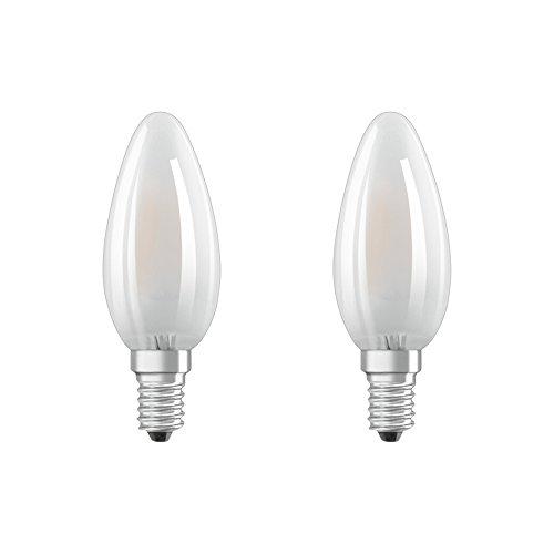 OSRAM Lot de 2 Ampoules LED à Filament Dépolies | Culot E14 | Forme Flamme | Blanc Chaud 2700K | 4W (équivalent 40W)