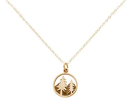 Gemshine Alpin Baum Tannen mit Berg Halskette in 925 Silber, hochwertig vergoldet oder rose. Sportschmuck - Made in Madrid, Spain, Metall Farbe:Silber vergoldet
