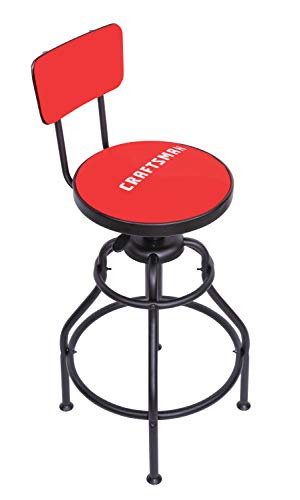 Craftsman Adjustable Height Work Shop Stool, 29 to 34-inches Tall, Rip-Resistant Padded Vinyl Seat, 300-lb Capacity, 360-degree Footrest, Non-Marring Feet (CMXZSAJ93394)