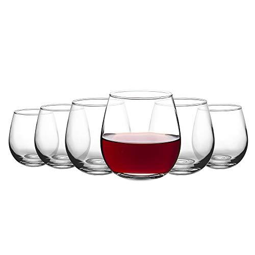 Amisglass Weingläser ohne Stiel 480ML Weinbecher 6er Set, bleifreies stielloses Weinglas, Premium-Kristall Wine Tumbler für Rotweine und Weißweine, Weinliebhaber