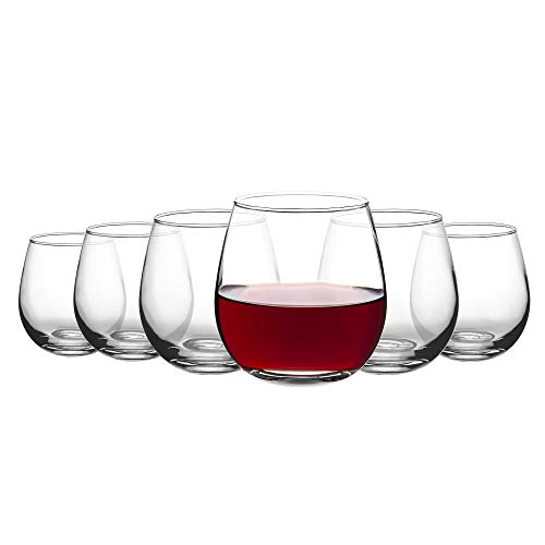 Amisglass Copas de Vino 6 Piezas, Vasos de Blanco sin Plomo, Copas de Espumoso sin Tallo, Vaso Vidrio Claridad para Bebidas, Champán, Cóctel, Ideal de Amante de Vino, Bar, Fiesta - 480 ml