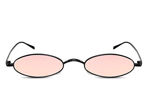 Cheapass Gafas de Sol Pequeñas Ovaladas Montura Dorada Metálica Cristales Rosas Espejados Gafas Festival para Mujer
