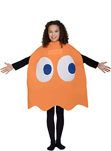 Funidelia | Disfraz de Fantasma Pac-Man Clyde Oficial para niño y niña Talla 4-10 años ▶ Comecocos, Videojuegos, Años 80, Arcade - Naranja