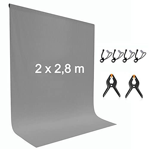 Sfondo Grigio 2×2,8 m Fondale Pieghevole in Poliestere-Cotone Lavabile per Studio Fotografico Fotografia Astratta Ritratto Video e Televisione