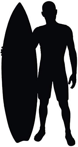 Pegatinas de Pared,Personalidad,dormitorio chico y chica DIY,El regalo más bonito,elegante,personalizado,Surfista y silueta de tabla de surf Surfing Sports Decor Art Decals 46X88Cm