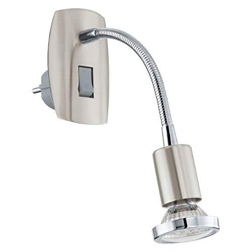 EGLO Steckdosenspot Mini, 1 flammige Steckerleuchte, Steckdosenlampe aus Stahl, Farbe: nickel matt, chrom, Fassung: GU10, inkl. Schalter und Flexarm
