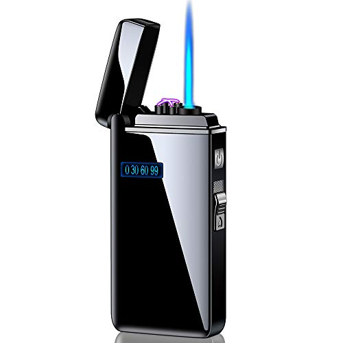 Dual Arc Lighter Jet Flame Torch Cigar USB Lighter 2 in1 Rechargeable Windproof Flameless Good for Cigarette Cigar Candle Pipe (Black)