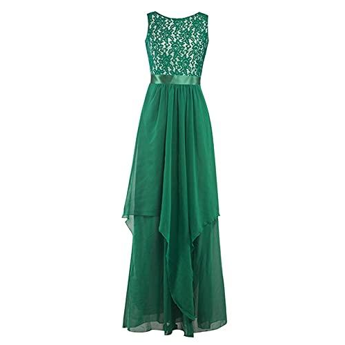 KeYIlowys Spitze Chiffon-NäHte Kleid, Langes Kleid Damenkleid, Abendkleid Chiffon-Kleid Chiffon-NäHte Spitzenkleid Brautjungfer Abendkleid