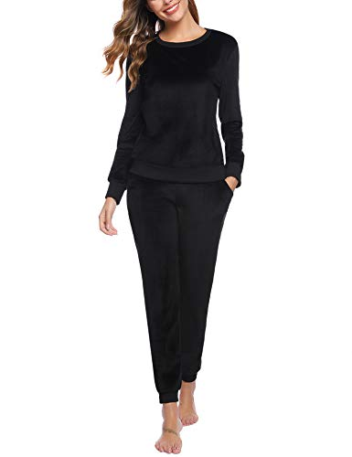 Abollria Women's 2 Piece Outfits - Sweatsuits Long Sleeve Pullover Sweatshirt Long Pants Tracksuit Set Black