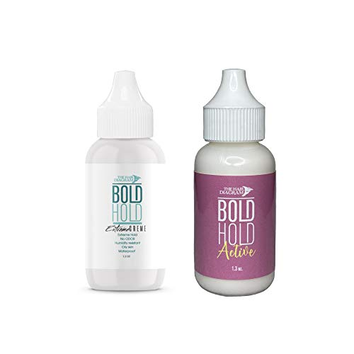 The Hair Diagram - Bold Hold Extreme Creme & Active Combo - Strong Hold Glue For Lace Front Wigs and Hair Systems - Dries Clear - For Oily Skin - Non Toxic - Humidity Resistant & Waterproof - 1.3oz/ea