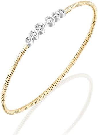 Pre Moon Jewelry Genuine Diamond Bangle Bracelet - 14k Solid White Gold - Bezel Set Diamond - Natural Round Diamonds - Open Bangle (5.1 g, 0.34 ctw, 6 Stones)