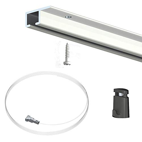NEWLY Pack 20 mètres cimaise Top Rail Couleur Blanc - Cimaise Rail Plafond pour Suspension Cadres et Tableaux - 15 câbles Micro Perlon 150 cm