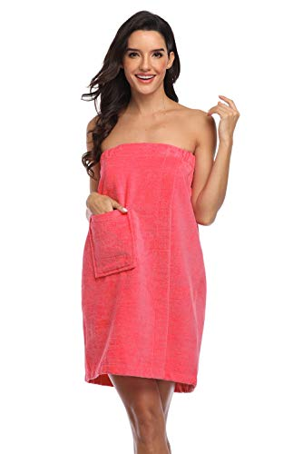 Super Shopping-zone Women's Velcro Towel Wraps Body Wrap Cotton Bath Wraps Towel Robes,100% Cotton,Rose2