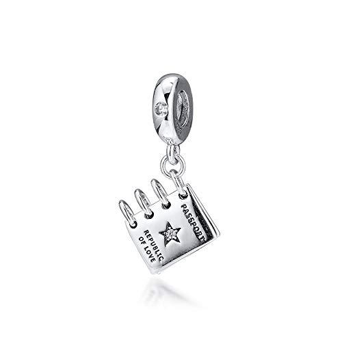 LIIHVYI Pandora Charms para Mujeres Cuentas Plata De Ley 925 Joyería Colgante De Pasaporte Real Compatible con Pulseras Europeos Collars