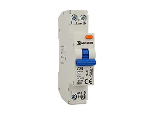 SANDASDON SD-SNR/40-C25 Interruttore Differenziale Salvavita 1P+N 40A C25 1M 1 Modulo DIN