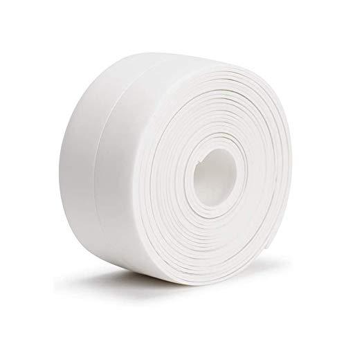 Selbstklebende Dichtband, Wasserdichtes klebeband für Bad und Küche, Feuchtigkeitsbeständiges Dichtungsband, Einfach falten, Es gibt Installationswerkzeuge (Weiß, 3.8 cm x 3.2m)