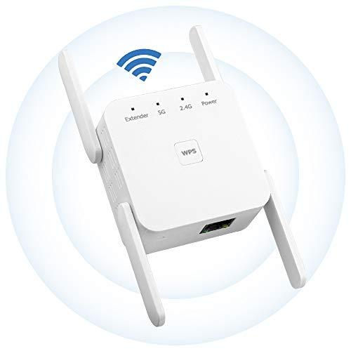 Maxesla Repetidor WiFi-1200Mbps 2.4 GHz/ 5GHz Amplificador Señal de WiFi Extensor, 4 Antenas Externas,Modo Ap Compatible,Repetidor Inalámbrico con Botón WPS, Fácil de configurar