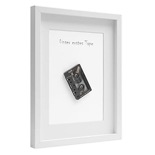 PHOTOLINI 3D-Bilderrahmen tief Objektrahmen 50x70 cm Weiss zum Befüllen für Gegenstände mit Passepartout Modern