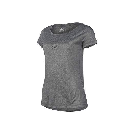 Speedo Blend Camiseta de Manga Curta, Mulheres, Cinza, M