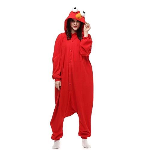 Pijama Adultos Polar Fleece Kigurumi Elmo Disfraz de Dibujos Animados Animal Onesies Pijama Halloween Carnaval Mascarada Fiesta Mono Ropa-Rojo_SG