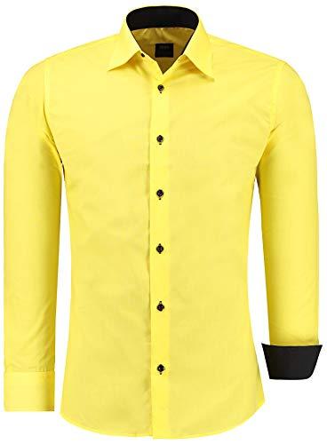 Jeel Herren-Hemd Langarm - Slim-Fit - Business Freizeit Hochzeit - Bügelleicht - Gelb L