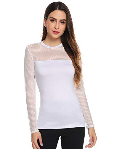 Top Femme Col Rond T Shirt Tee sous-Pull Basique Transparent Sexy Elégant à Manches Longues Pull Hauts Femmes Chic