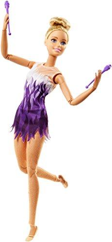 Barbie Made to Move poupée articulée gymnaste ultra flexible en robe dégradé blanc et violet avec collants, jouet pour enfant, FJB18