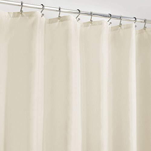 mDesign Duschvorhang Anti-Schimmel – wasserabweisender Vorhang für Dusche & Badewanne – moderner Badewannenvorhang mit zwölf verstärkten Löchern & Gewichten im Saum – naturfarben/elfenbeinfarben
