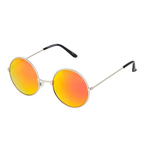 Ultra Goldrahmen Brennende Gebrannte Orange Linsen Brille Klassische John Lennon Sonnenbrille Groß Stil Runde Sonnenbrille Damen Herren mit UV400 Schutz Männer Frauen Unisex Retro Sonnenbrille