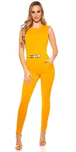 Koucla Damen Overall Jumpsuit Playsuit mit Schnalle (Senf, M)