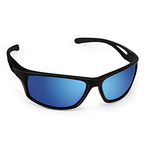 CHEREEKI Sport Sunglasses, Polarized Sports Sunglasses with UV400 Protection & TR90 Unbreakable Frame, for Fishing Driving Golf Running Cycling Camping (Blau)