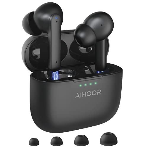 AIHOOR Active Noise Cancelling Wireless Earbuds, ANC Bluetooth 5.0 Headphones with Charging Case, Touch Control, Built-in 4 Mic Earphones, Deep Bass, 30H Playtime, Waterproof Headset for Android iO