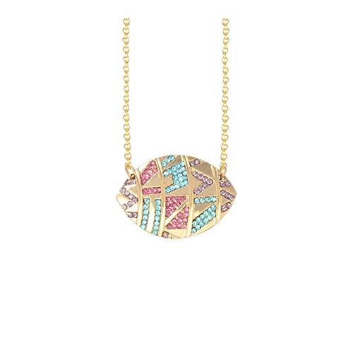 AdorabFruit Présent Pendentif Joyería Multicolor Oval Collares Pendientes Mujeres Ronda Tribal geométrico del Ojo de Cristal Collares Collar (Metal Color : 2)
