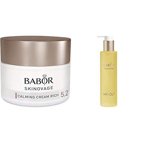 BABOR SKINOVAGE Calming Cream Rich, besonders pflegende Gesichtscreme,1er Pack (1 x 50 ml) & CLEANSING HY-ÖL hydrophiles Reinigungsöl, für jeden Hauttyp, mild & vegan, 1 x 200 ml