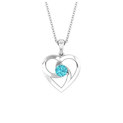 Open Heart Necklace, 1/4 CT Round Shaped 4 MM Swiss Blue Topaz, Solitaire Pendant, Love Charm Pendant, Gold Gemstone Jewelry, Valentines Gift for Her, 18K White Gold Without Chain