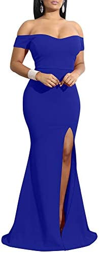 YMDUCH Women s Off Shoulder High Split Long Formal Party Dress Evening Gown Royal Blue product image